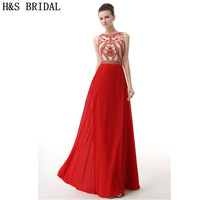 H&S BRIDAL Crystal Jewel evening dresses long 2017 Chiffon Sheer Neck and Back Sexy red evening gown Party Prom Gown Elegant