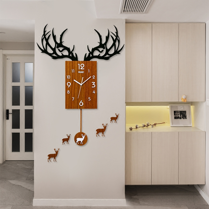 Creative Modern Acrylic 3D Deer Digital Needle Quartz Big Clocks Household Decoration Crafts Mute Art Wall Watch Clock For Gifts