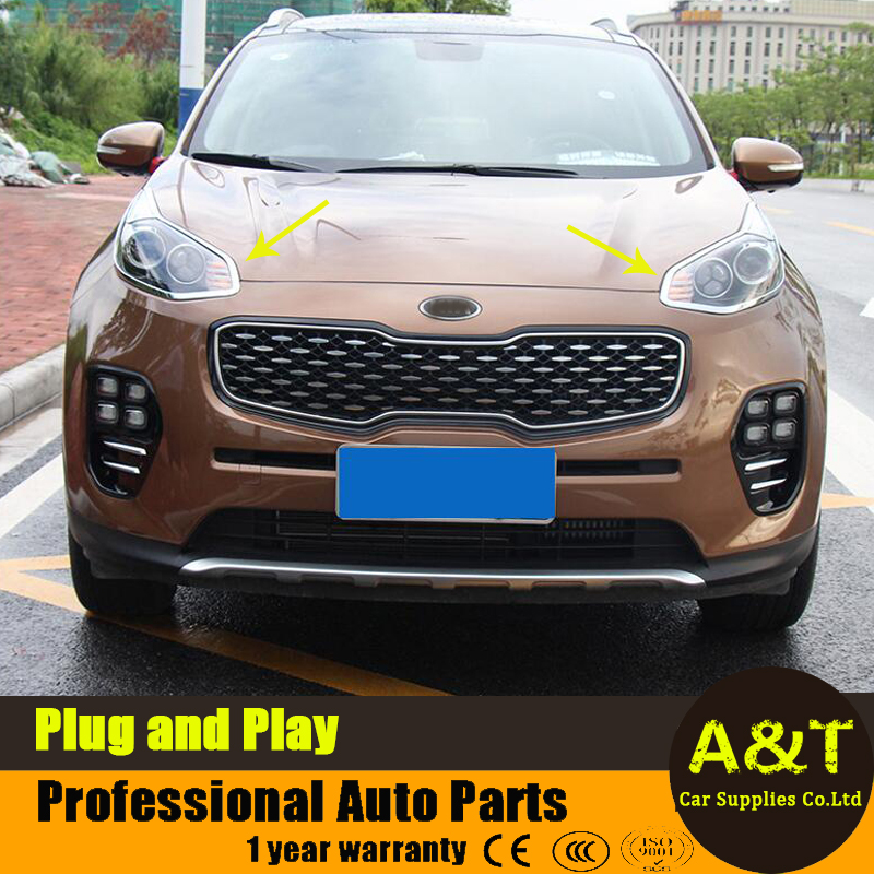 ФОТО car styling for Kia Sportage KX5 2016 2017 model high quality chrome front headlight cover decorative frame 2 pcs Car Accessorie