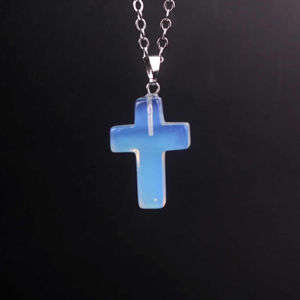 เงินสี Cross สร้อยคอหินธรรมชาติ Blue San โอปอลคริสตัลสีชมพูคริสตัลนิลสร้อยคอจี้เครื่องประดับสำหรับผู้หญิง
