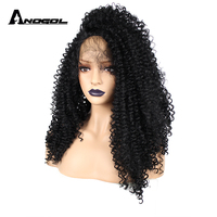 Anogol Glueless High Temperature Fiber Hair Long Kinky Curly Black Side Part Synthetic Lace Front Wig