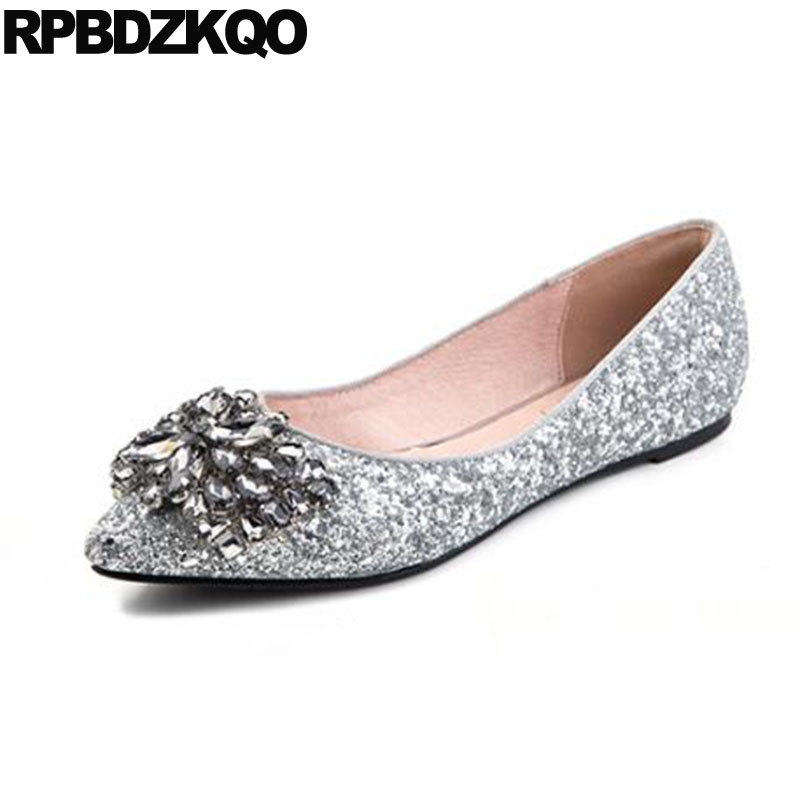 Slip On 12 44 Crystal Silver Women 11 Pointed Toe Glitter Dress Fur Large  Size Rhinestone Sequin Chinese Wedding Shoes Flats-in Women s Flats from  Shoes on ... b796689193eb