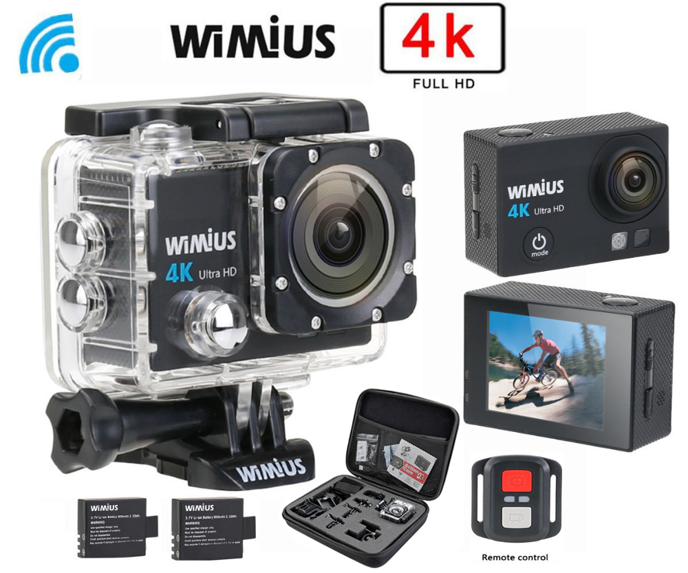 Wimius Action Camera 4K wifi HD 16MP Sports Video Car DVR Go Waterproof 40M pro + 2.4G Wireless Remote Control+Protective DV Bag original eken action camera eken h9r h9 ultra hd 4k wifi remote control sports video camcorder dvr dv go waterproof pro camera