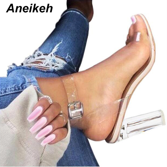 Aneikeh 2018 PVC Jelly Sandals Crystal Open Toed High Heels Women Transparent Heel Sandals Slippers Pumps 11CM Big Size 41 42
