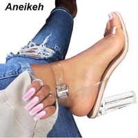 Aneikeh 2020 PVC gelée sandales cristal ouvert à talons hauts femmes Transparent talon sandales pantoufles pompes 11CM grande taille 41 42