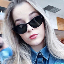PAWXFB 2019 New High Quality Women Fashion Cat Eye Sunglasses Vintage Rivet Frame Small Sun Glasses Female
