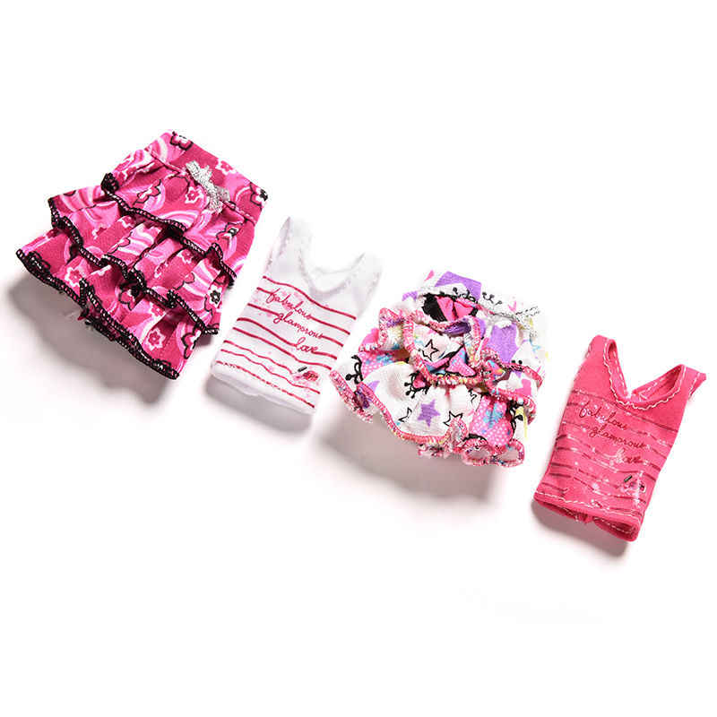 2ピース/セット漫画手紙ストリップ印刷半袖tシャツスカート用人形服スーツ