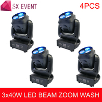 4pcs/lot 3x40W ZOOM Bee Eyes LED Moving Head Light concert stage Dj equipment