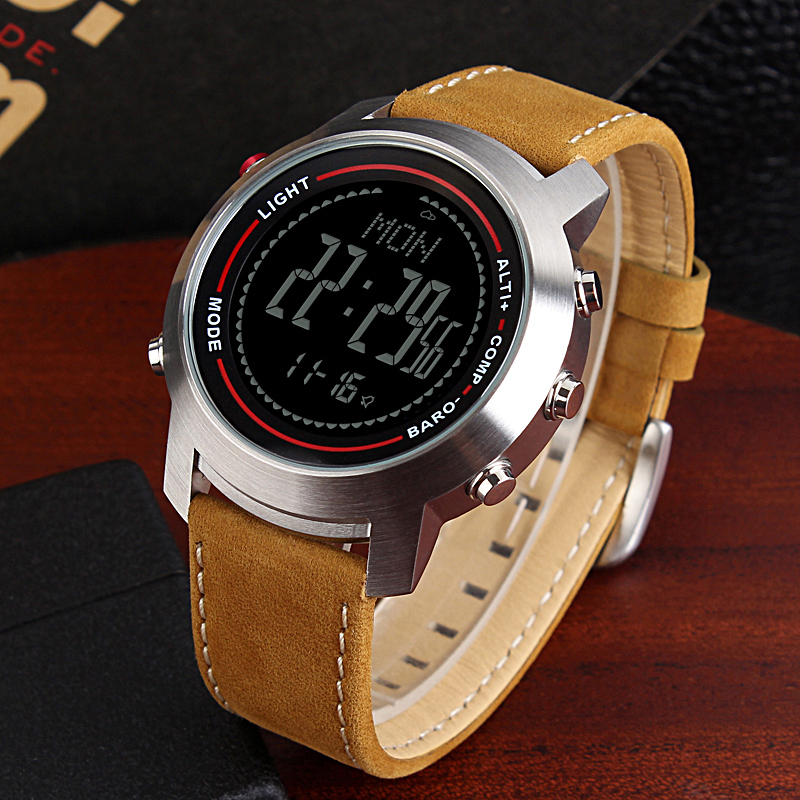 Official Website Spovan Mens Watch With Genuine Leather Band 50m Waterproof Sport Watches Compass Led Backlight Multifunction Wristwatch Mg01b Digital Watches