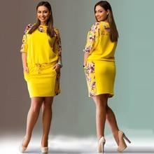 Blue Red Yellow Large Size 6XL Women Dress Floral Printed Straight Dress Plus Size Women Clothing 5XL Big Size Pink Dress