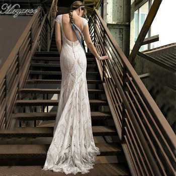 Mryarce Unique Lace Bohemian Wedding Dress With Cap Sleeves Open Back Mermaid Boho Bridal Gowns - DISCOUNT ITEM  15% OFF All Category