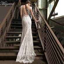Mryarce unikalny koronki suknia ślubna w stylu boho z rękawy cap bez pleców syrenka boho ślubne suknie