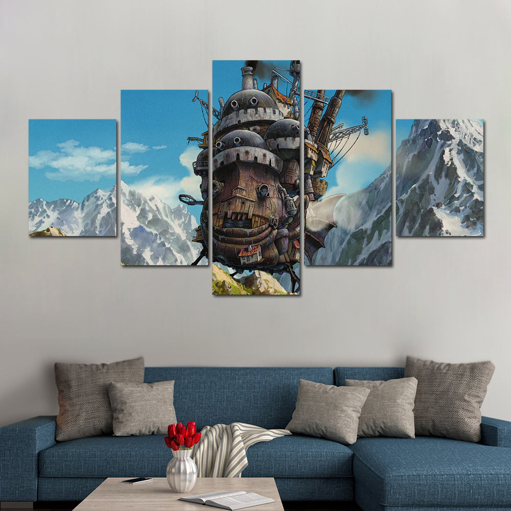 Canvas painting 5 panels Howl's Moving Castle modular pictures poster Miyazaki Hayao movie poster image