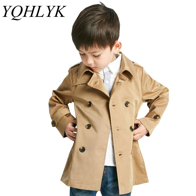 New Fashion Spring Autumn Boy Coat 2018 Children Lapel Long-Sleeve Double-Breasted Jacket Casual Handsome Kids Clothes W97 stylish lapel long sleeve double breasted plus size coat for women