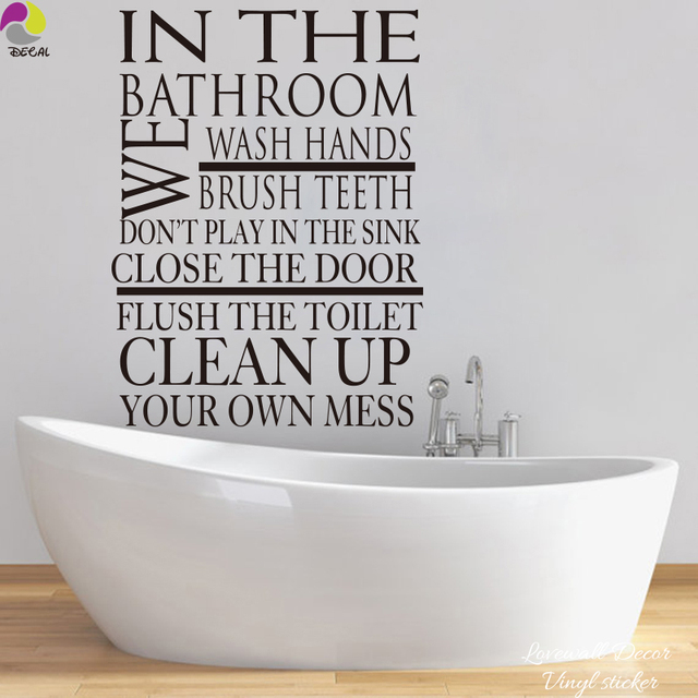 Règle de salle de bain Sticker mural grande taille lavage brosse à ...
