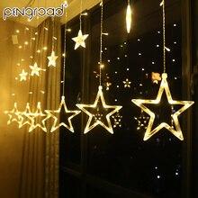 3,5 м, светодиодный гирлянда с Луной и звездой, гирлянда для занавесок, уличный светодиодный светильник, сказочный светильник на батарейках, домашний, новогодний, USB светильник PD054