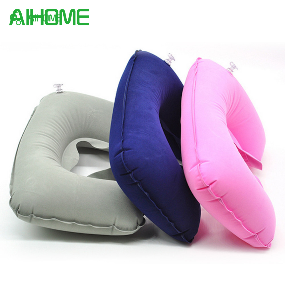 U-Shape Travel Pillow for Airplane Inflatable Neck Pillow Travel Accessories Comfortable Pillows for Sleep Home Textile 3 Colors image