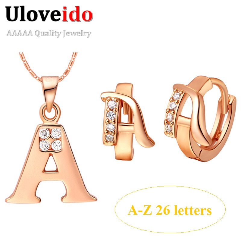 Uloveido Letter Pendant Necklace Earrings Sets Rose Gold Color Crystal Earring Zircon Jewelry Set Suspension Gifts 40%off T324