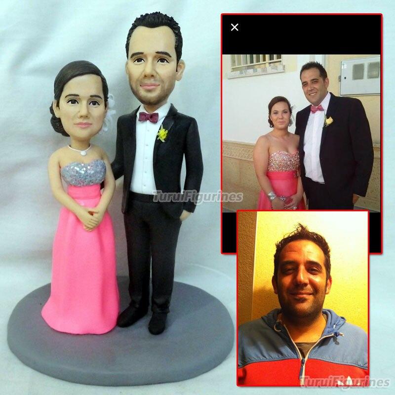 OOAK gâteau de mariage topper gâteau décor cadeau pour petit ami petite amie mariée et marié cadeaux idée présente dollhouse main statue