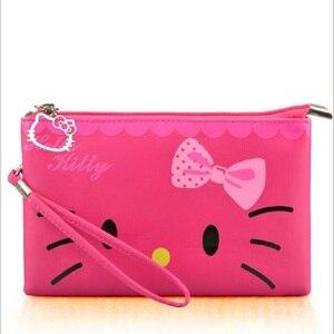 Милые маленькие женские сумки Hello Kitty, водонепроницаемая сумка-тоут, Дамский кошелек, клатчи с веревкой, 3 цвета на выбор, 2017