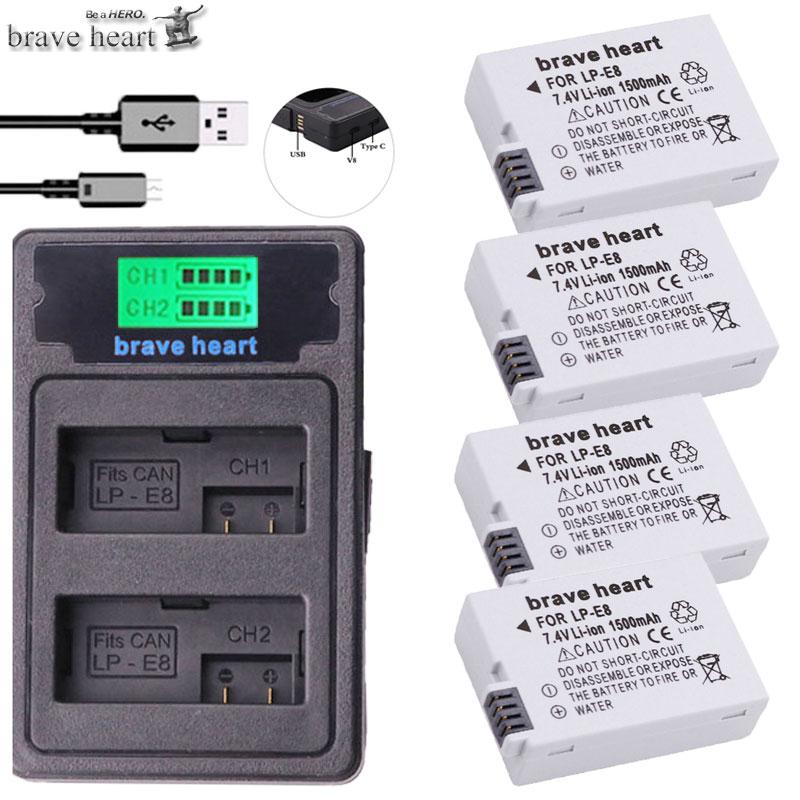 Stromquelle Sammlung Hier Bateria Lp-e8 Lpe8 Lp E8 Batterie Batterie Akku Typ-c Lcd Dual Ladegerät Für Canon Eos 550d 600d 650d 700d X4 X5 X6i X7i T2i T3i Hell In Farbe
