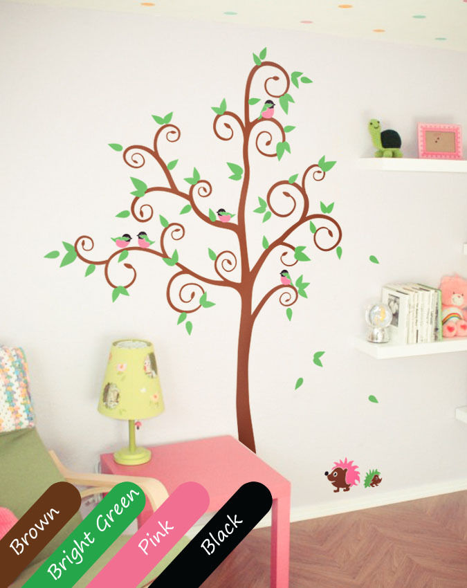 Brown Cute And Simple Wall Tree Decals With Pink Birds And Brown Hedgehogs Diy Removable Wall Sticker Size 48 80 7inches Tree Decal Walls Treewall Sticker Aliexpress