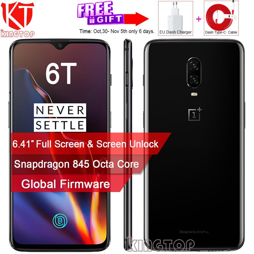 D'origine Oneplus 6 t Mobile Téléphone Déverrouillage de L'écran 6.41 Plein Écran Snapdragon 845 Octa Core 8g RAM 128g ROM Double Caméra 20MP + 16MP