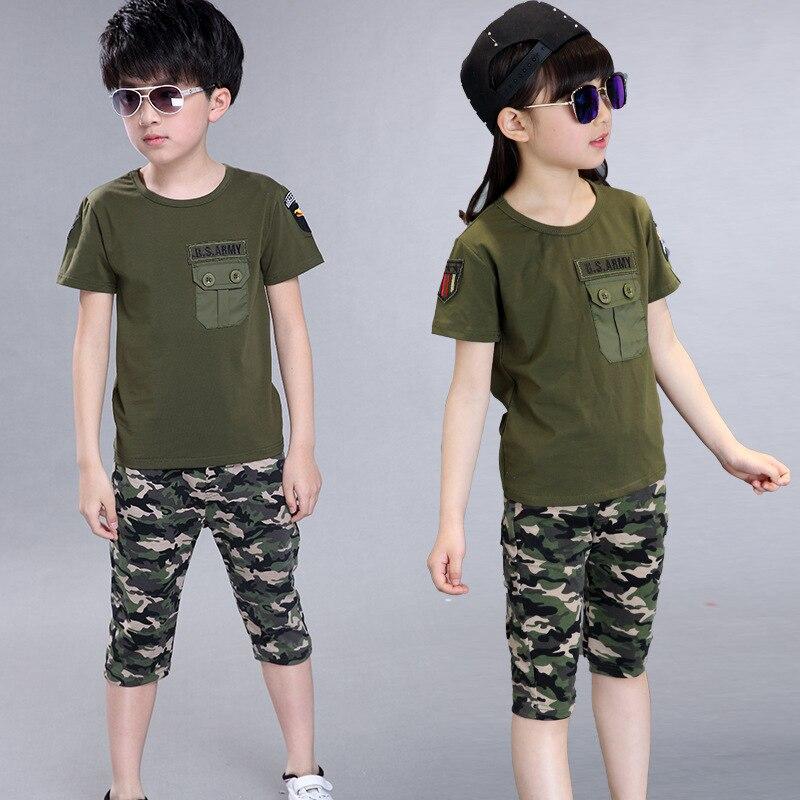 2018 Bambini di Estate Militare Camouflage Vestiti del Ragazzo T-Shirt + shorts 2 pcs Set Della Ragazza del Cotone Verde Dellesercito di Sport di Stampa Mutanda vestito2018 Bambini di Estate Militare Camouflage Vestiti del Ragazzo T-Shirt + shorts 2 pcs Set Della Ragazza del Cotone Verde Dellesercito di Sport di Stampa Mutanda vestito