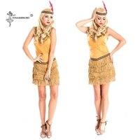 Women Halloween Costume Indian Tribal Dance Fringed Dress Cosplay Native Indians Princess Tassel Indian Dress Lehenga Choli