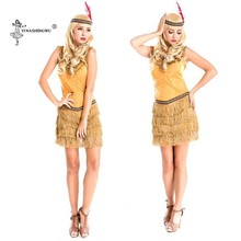 Women Halloween Costume Indian Tribal Dance Fringed Dress Cosplay Native Indians Princess Tassel Indian Dress Lehenga Choli(China)