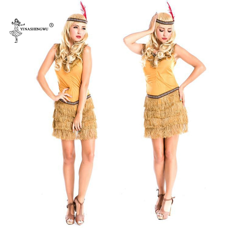 Women Halloween Costume Indian Tribal Dance Fringed Dress Cosplay Native Indians Princess...