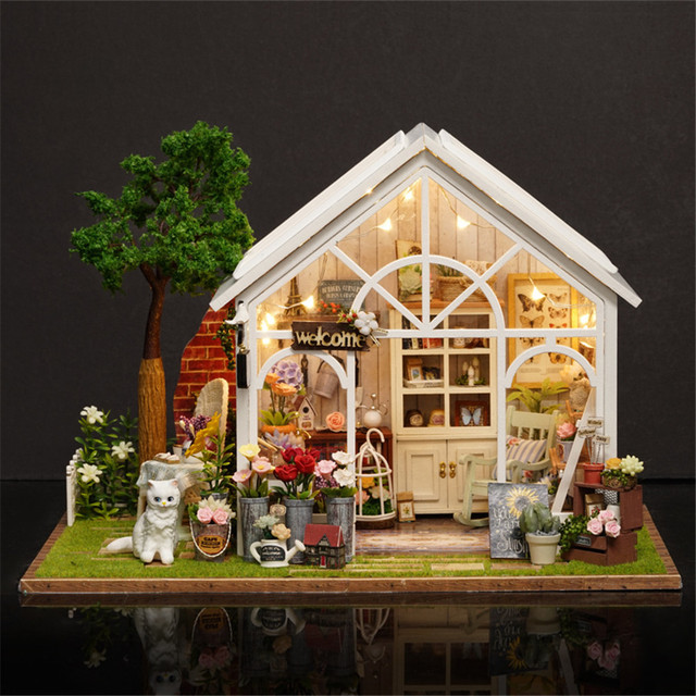 DIY 3D Doll House Miniature Handmade Wooden Sunshine Garden Birthday Gifts Puzzles For Adults
