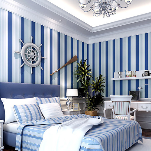 Mediterranean Blue Vertical Stripes 3d Woven Wallpaper Cozy Sofa Bedroom Living Room Tv Backdrop