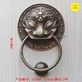 Todos os 13.5 cm rodada Cabeça de Leão Aldrava de porta de bronze maçaneta da porta de madeira villa