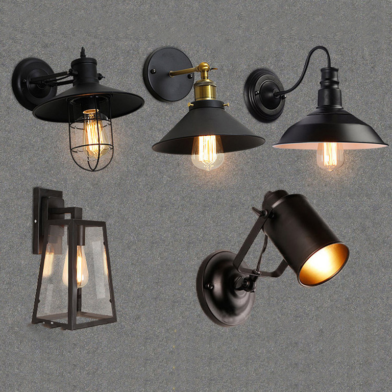 Loft personality retro LED wall lamp American country wrought iron antique restaurant bar corridor corridor aisle wall lamp