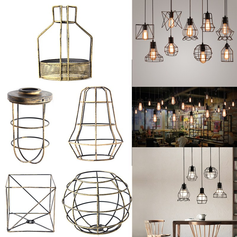 Smuxi Retro Vintage Industrial Lamp Covers Pendant Trouble Light Bulb Guard Wire Cage Ceiling Hanging Bars Cafe Lamp Shade стоимость