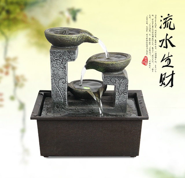 Charmant Rockery Water Fountain Humidifier For Study Room Wind Turbine Figurines  Miniatures Office Desk Ornament Home Decor