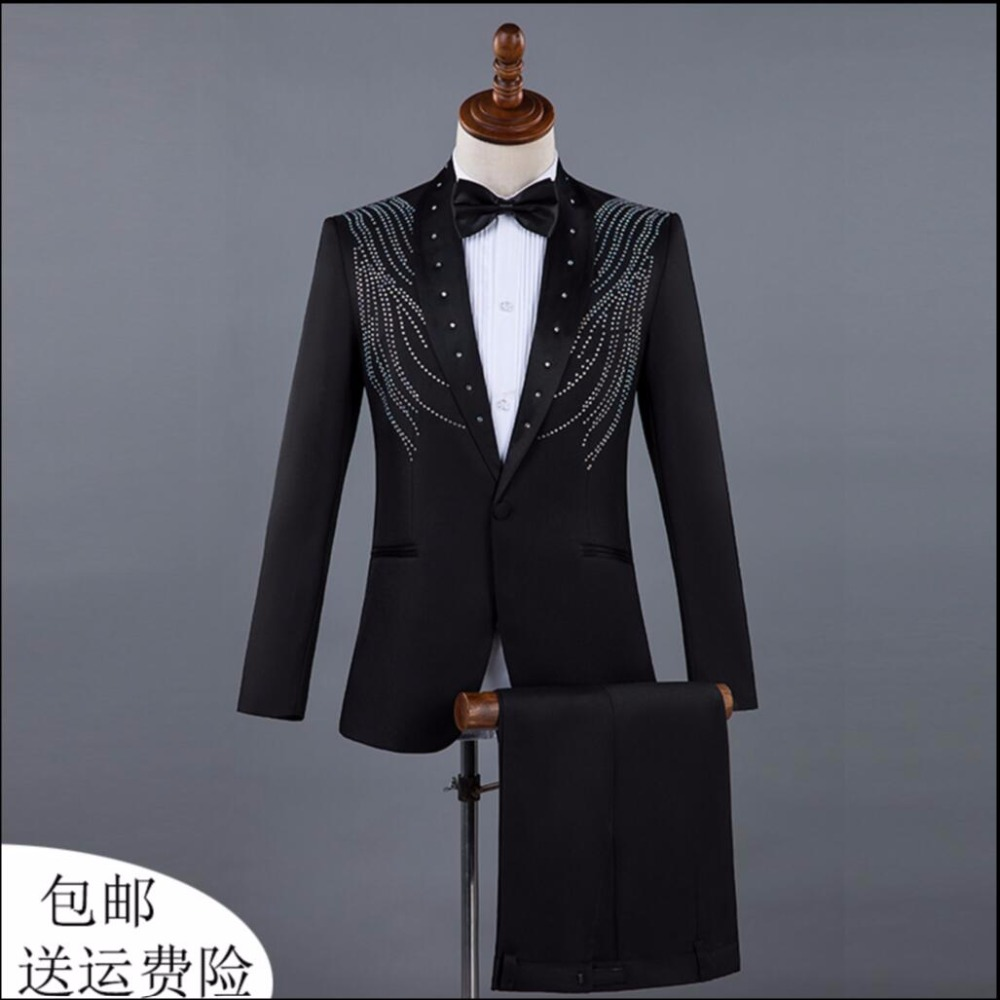 Men's Choral Wedding Formal Dress Stage Suits Performance Clothing 2020 New Fashion Sequined Suit Host Singer Stage Costumes