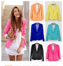 2016 Mulheres Terno Blazer Jaqueta Marca Dobrável Feito De Algodão & Spandex Com Forro Vogue Cores Doces Blazers Livre ShippingA7995(China (Mainland))