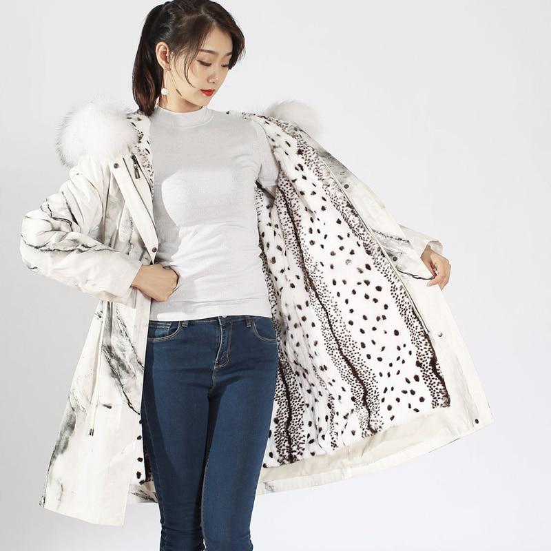 XINYUXIANG 2018 hiver nouvelle vraie fourrure vestes femmes mode mince dessin Naturel raton laveur col de fourrure Réel Rex De FOURRURE DE Lapin manteaux 109B