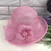 British Vintage Women Sinamay Hat Summer Spring Flower Floppy Brim Bucket Hat Ladies Sinamay Sun Hat Cocktail Party Fedora Cap