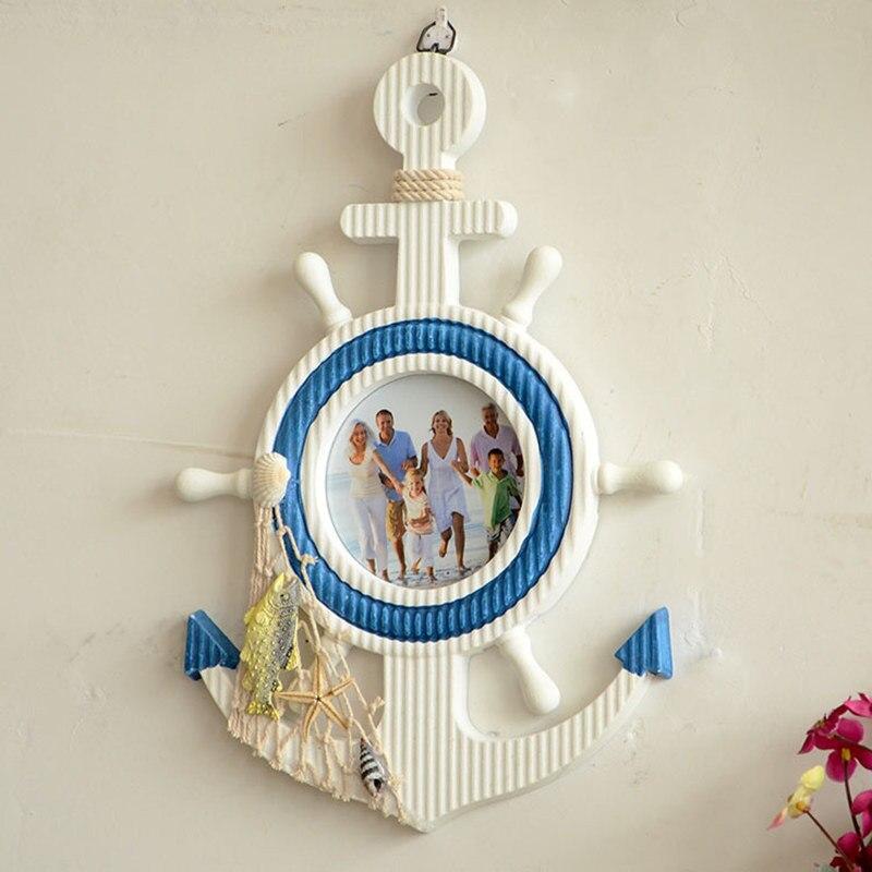 wooden anchor mediterraneo vintage wall nautical home decor nautical zakka anchor photo frames wood 2017 crafts wooden anchor in frame from home garden on - Nautical Picture Frames
