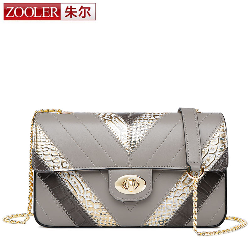 ZOOLER Women Flap Bags Chain Bags Crocodile Patchwork Bags Real Genuine Leather Ladies Fashion Design Shoulder bag free shipping yuanyu 2018 new hot free shipping real python leather women clutch women hand caught bag women bag long snake women day clutches