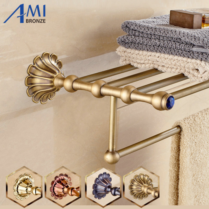 12 Petals Series Antique Gold Black Rose Brass Towel Rack Continental Bathroom Accessories