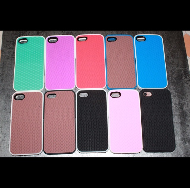 Soft Rubber Waffle Case For iPhone 5 6 6s 7 7 Plus 8 X