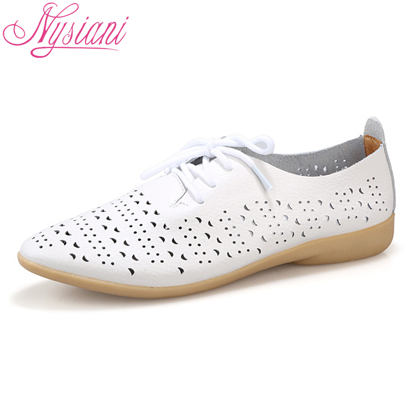 Nysiani 2018 Split Leather White Shoes For Woman Cow Muscle Soft Bottom Pointed Toe Lace Up Casual Leather Women Flat Shoes beffery 2018 british style patent leather flat shoes fashion thick bottom platform shoes for women lace up casual shoes a18a309