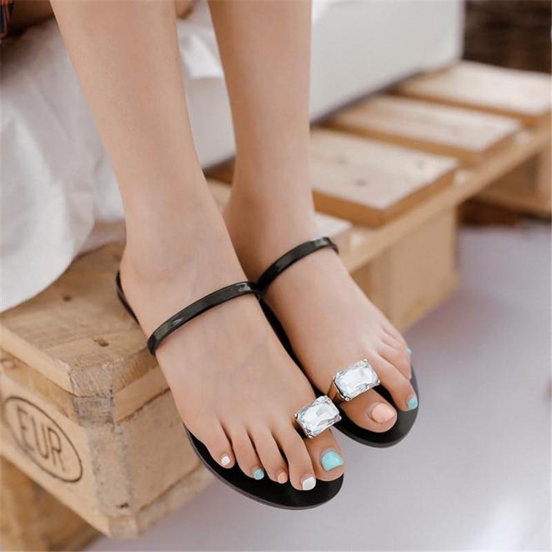 2017 summer set auger toe fashion diamond flat soft bottom anti-slip female sandals sandals of big yards велосипед kross animato 2013