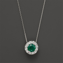 Halo Design Halo 0.5CT Natural Emerald Pendant Green Gemstone 14k White Gold Diamond Accents Pendant Necklace Chain