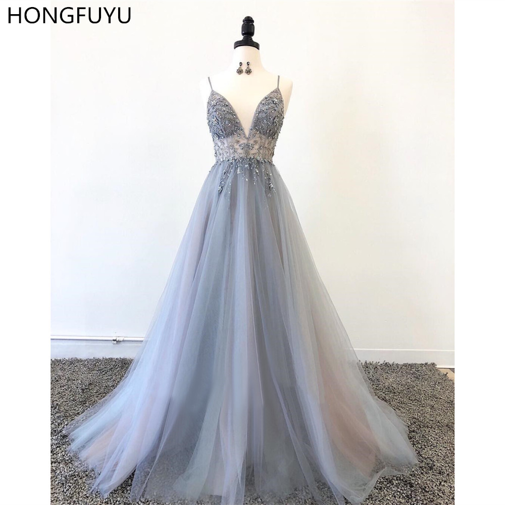 HONGFUYU Spaghetti Straps   Prom     Dresses   Sleeveless Beading Evening   Dress   Long Vestido Longo A Line Formal Party Gowns Tulle