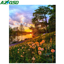 AZQSD Diamond Painting Landscape Rhinestones Pictures Mosaic Home Decor Embroidery Full Diaplay Gift